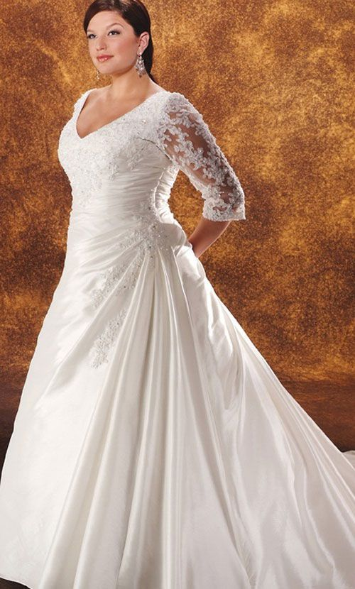 Plus size wedding dresses with sleeves curvyoutfits plus size wedding dresses with sleeves junglespirit Image collections