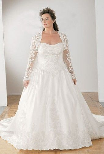 Plus size wedding gowns with jackets for Wedding dress jackets plus size