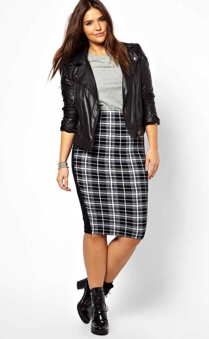 Well A plaid skirt stretch your