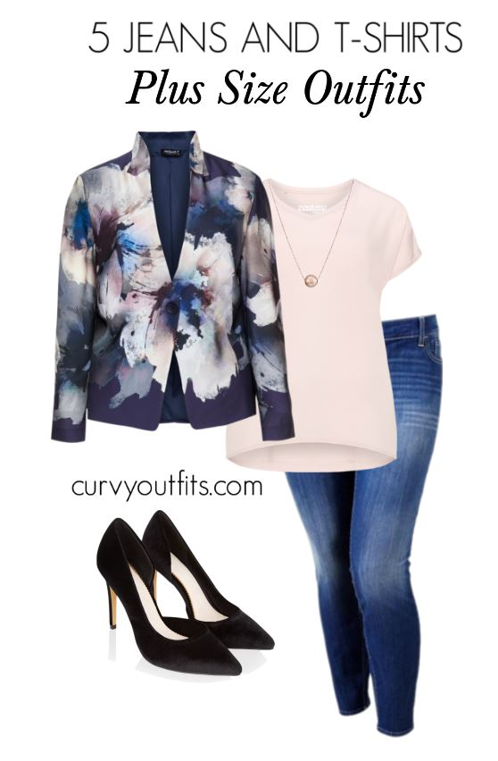 5 jeans and tshirts plus size outfits2 - 5 stylish plus size outfits with jeans and t-shirts