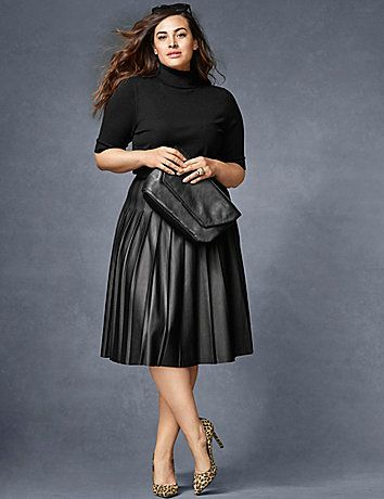 How to wear leather skirts without looking frumpy - curvyoutfits.com