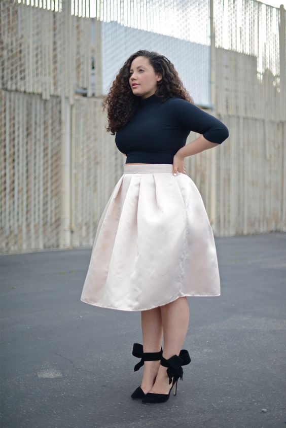 how to wear plus size satin skirts in style - page 3 of 5