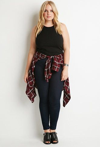 5 plus size outfits with high waisted jeans for spring ...
