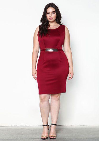 5 ways to wear a burgundy plus size dress - curvyoutfits.com