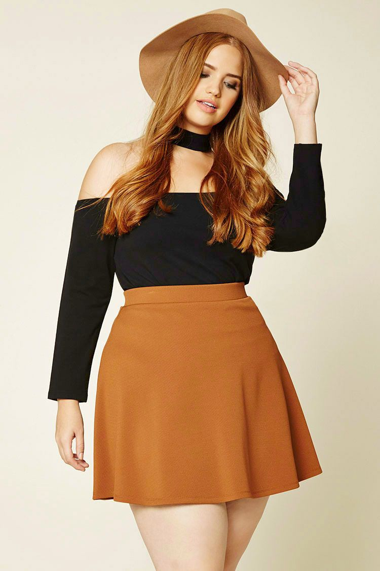 how to be stylish in a plus size skater skirt 19 outfit ideas