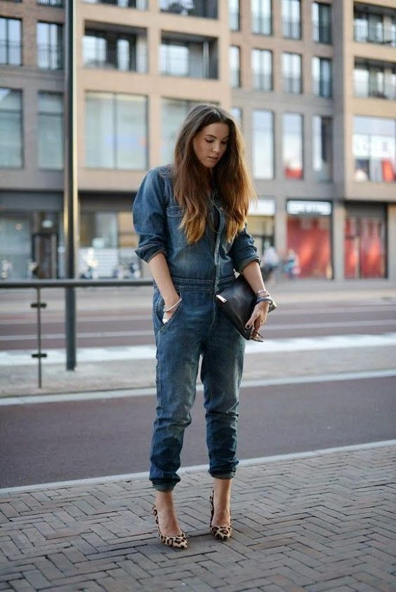 How to wear a plus size denim jumpsuit with heels ...