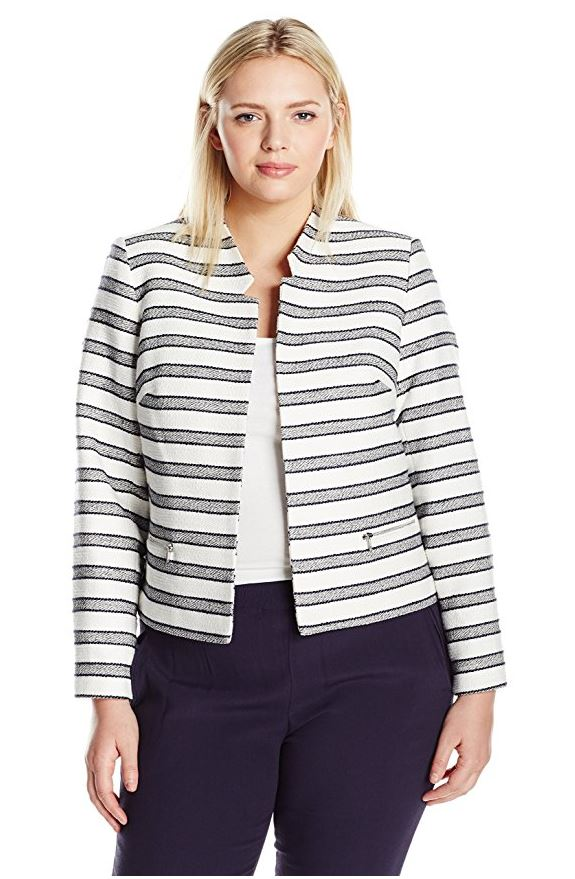 plus size croped denim jacket outfit for work - 7 stylish cropped jackets for curvy women