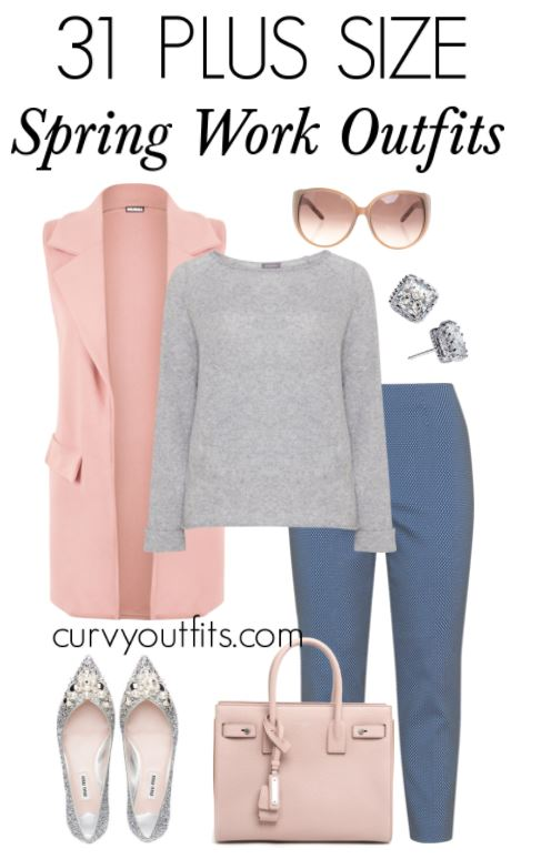 31 stylish plus size spring work outfits - curvyoutfits.com