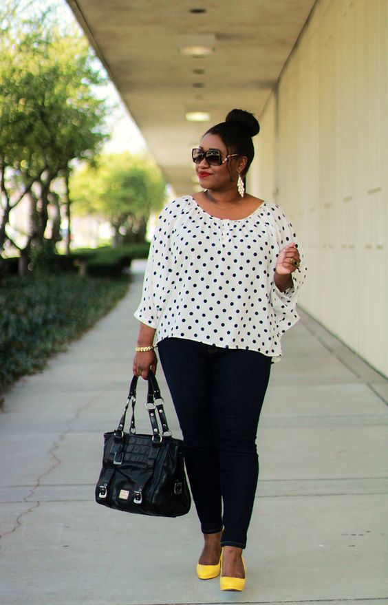 8 plus size spring outfits with polka dot tops - 8 plus size spring outfits with polka dot tops