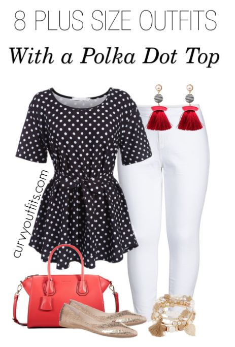 plus size polka dot top outfit - 8 plus size spring outfits with polka dot tops