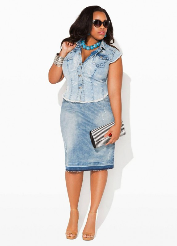 plus size denim skirts 5 best outfits1 - plus-size-denim-skirts-5-best-outfits1