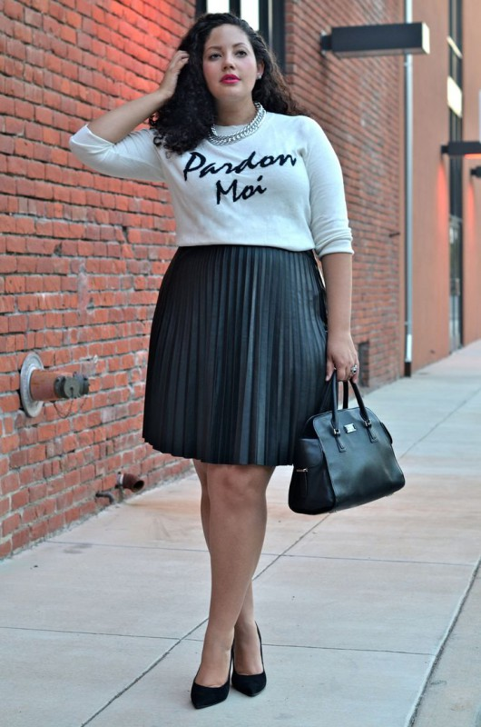 plus size leather skirt 5 best outfits2 - plus-size-leather-skirt-5-best-outfits2