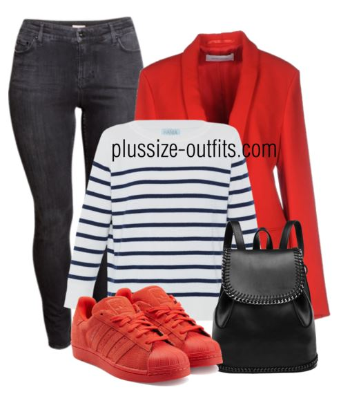 sporty chic plus size outfit with jean blazer and sneakers