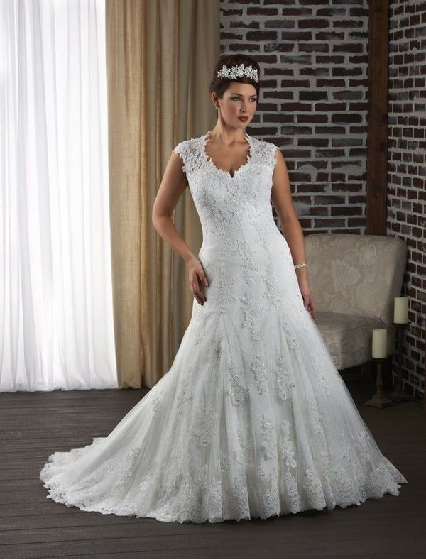 Plus Size Wedding Dresses With Lace Sleeves Curvyoutfits
