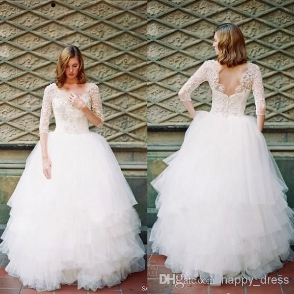 plus size wedding gowns with 34 sleeves - plus-size-wedding-gowns-with-34-sleeves