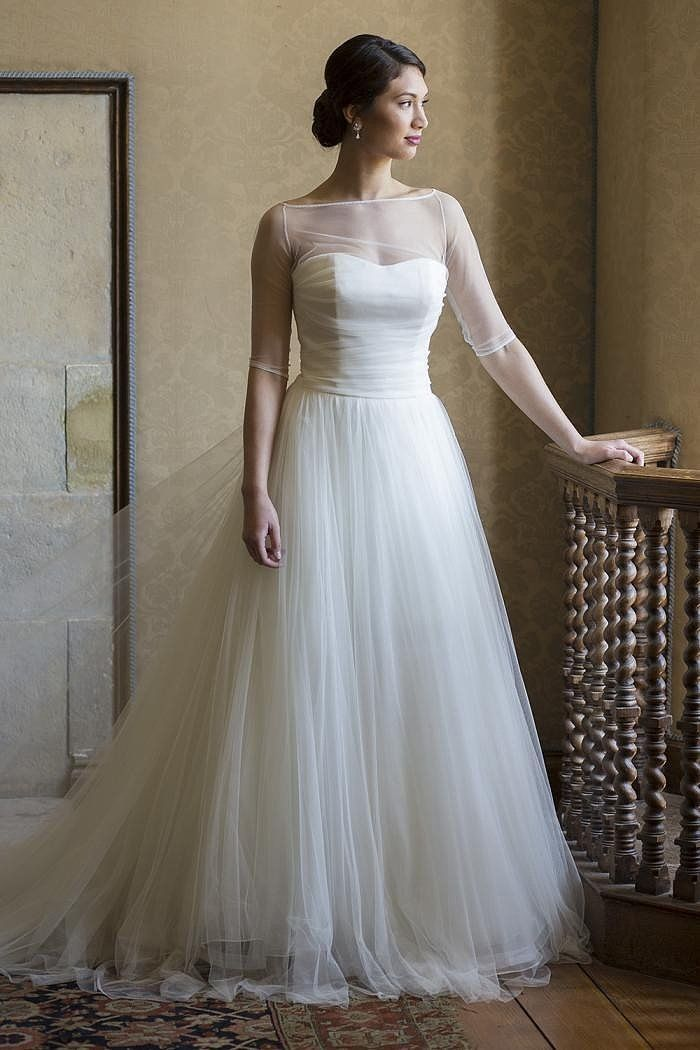 Plus size wedding gowns with 3/4 sleeves - curvyoutfits.com