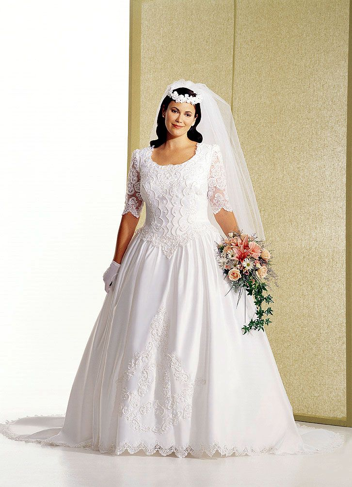 Plus size wedding gowns with sleeves - curvyoutfits.com