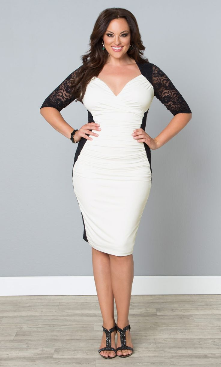 Plus size white dress cocktail - curvyoutfits.com