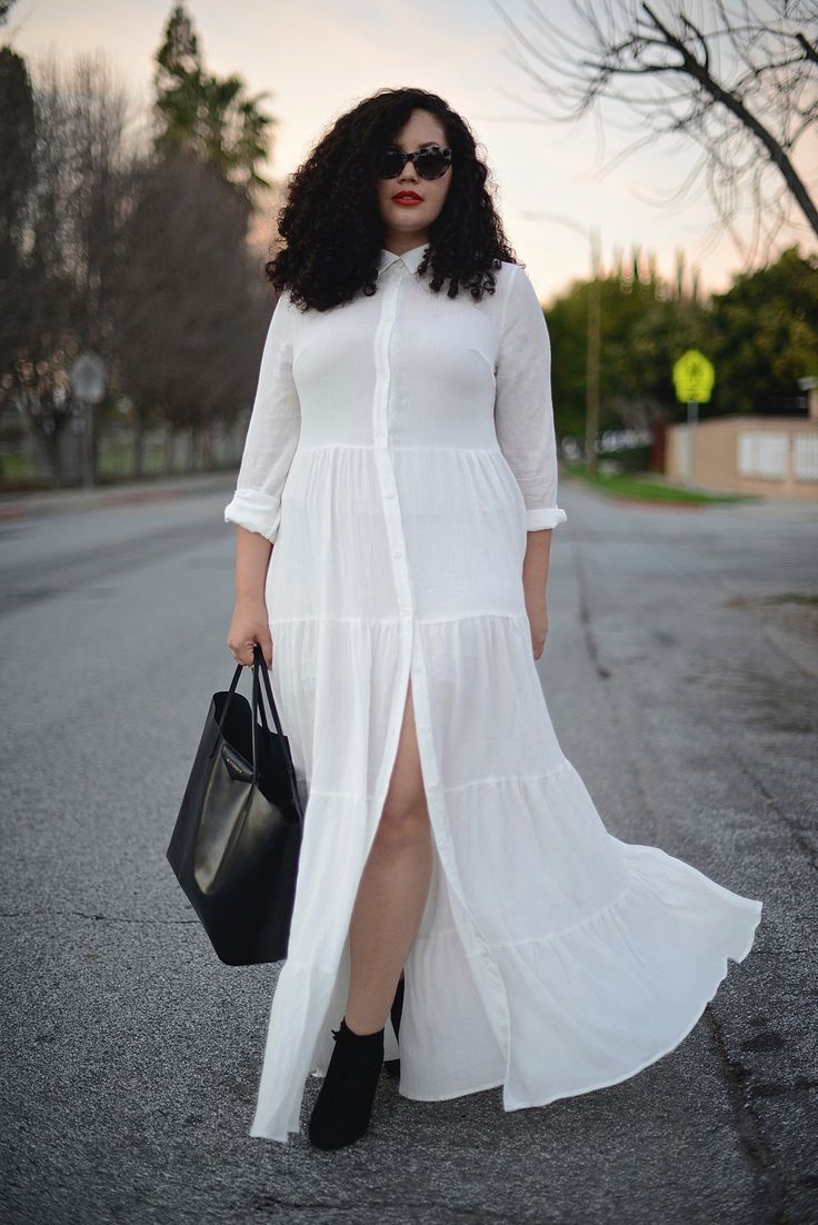 Plus size white dress shirt - curvyoutfits.com