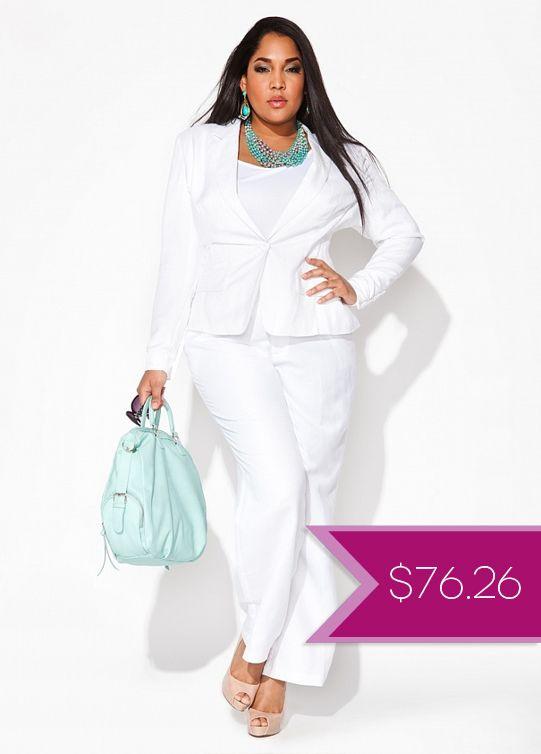 Plus size white dress suit - curvyoutfits.com