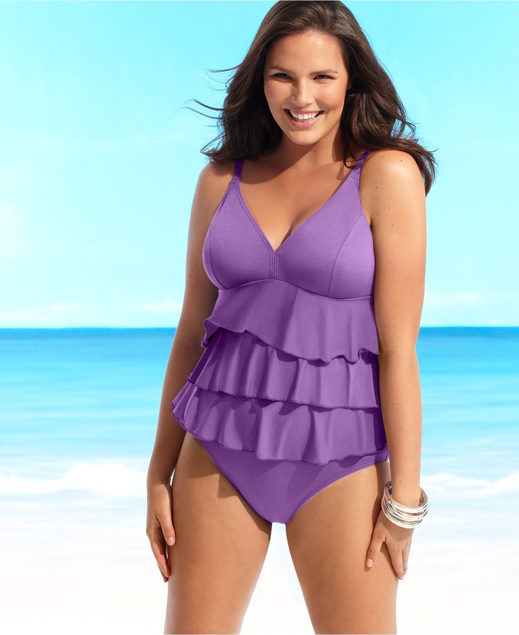 517733a0182 Flatter your figure with a pretty plus size swim dress ...
