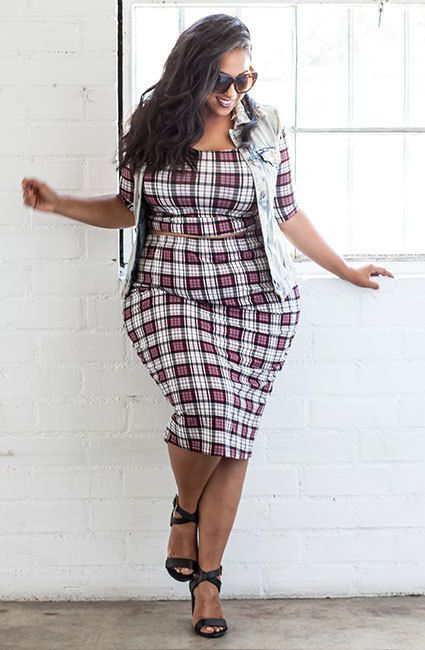 5 plaid dresses for plus size girl that you will love