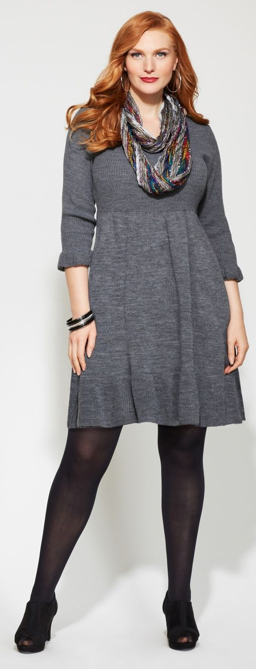 Grey Sweater with Leggings Plus Size Dress