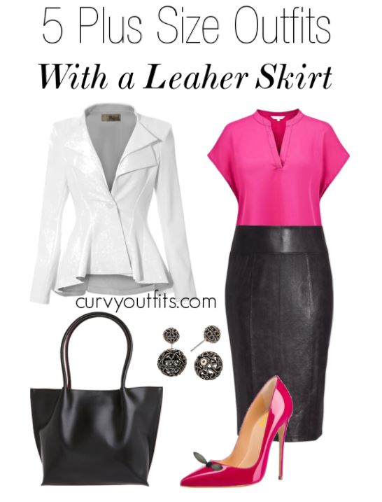 5 plus size outfits with a leather skirt - 5 plus size outfits with a leather skirt