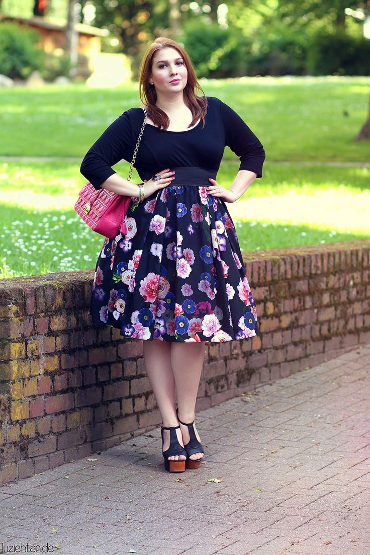 5 ways to wear a plus size floral skirt