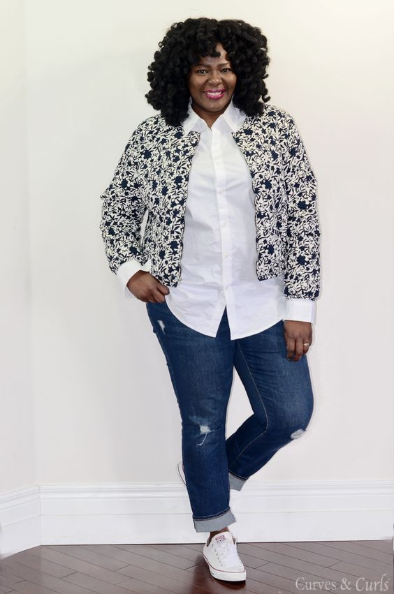 c718a6aa4f2 5 ways to wear a plus size spring bomber jacket - curvyoutfits.com