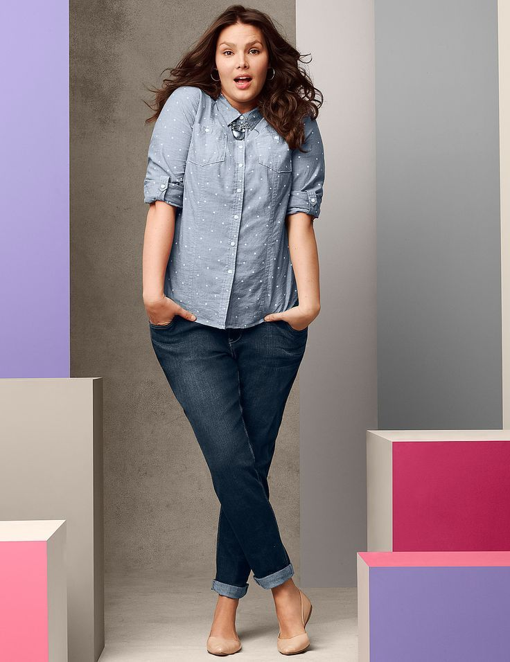 c9e59613a3b34d How to wear a plus size denim shirt in style - curvyoutfits.com