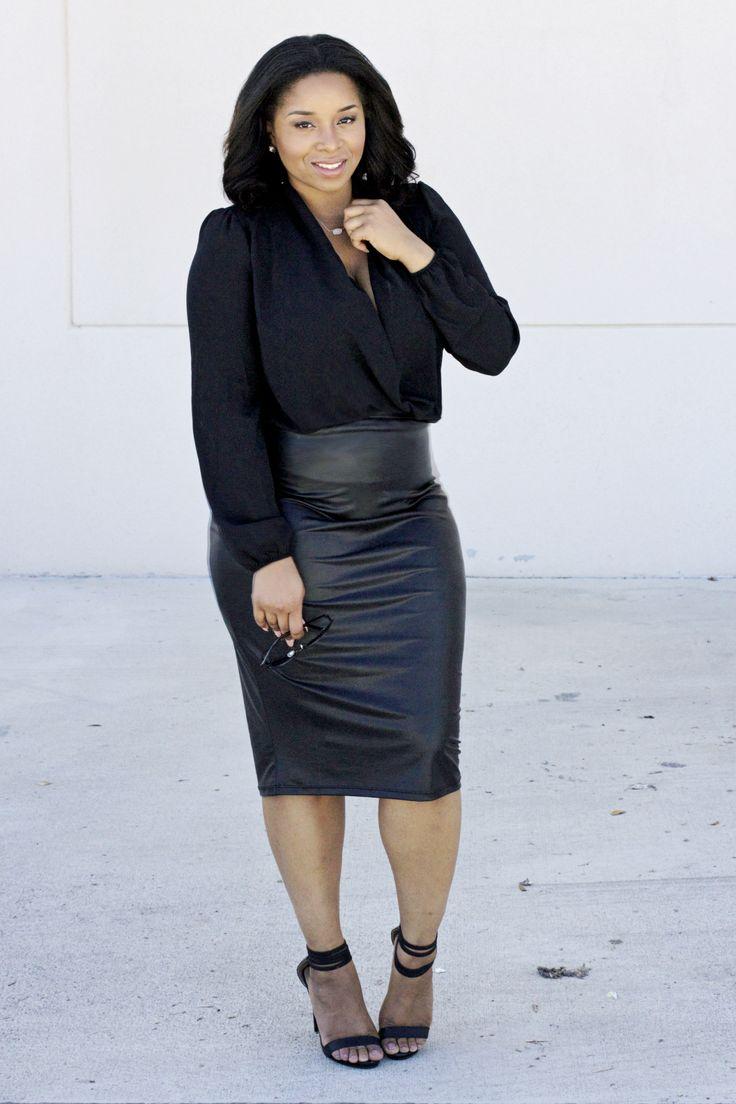 7a02f280f4 5 flattering black skirts for plus size women - curvyoutfits.com