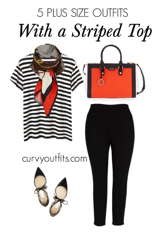 5 plus size outfits with a striped top 1 - 5 plus size outfits with a striped top 1