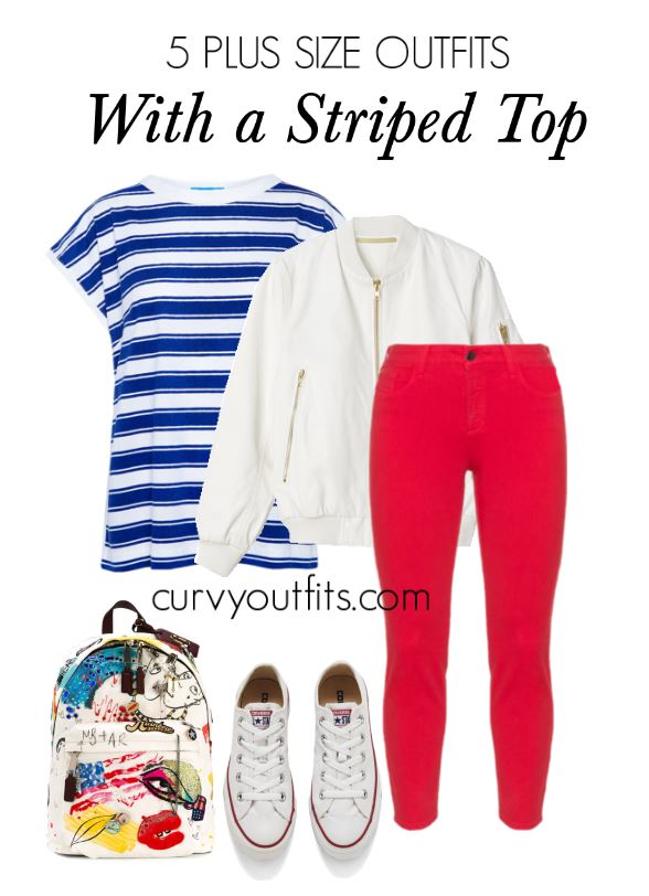 5 plus size outfits with a striped top 2 - 5 plus size outfits with a striped top 2