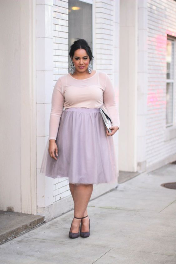 5 plus size pastel skirt outfits for romantic looks 2 - 5-plus-size-pastel-skirt-outfits-for-romantic-looks-2