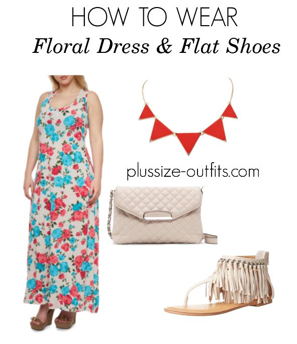 how to wear plusize floral dress and flat shoes 1