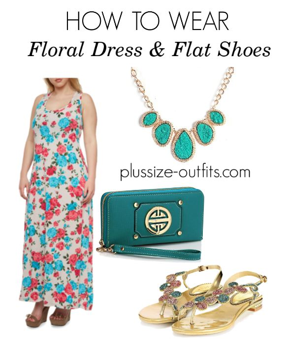 how to wear plusize floral dress and flat shoes 2