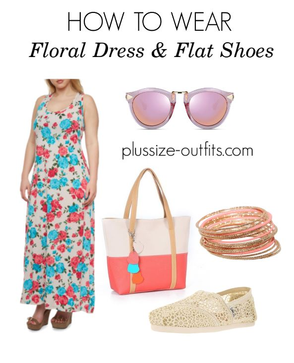 how to wear plusize floral dress and flat shoes 3