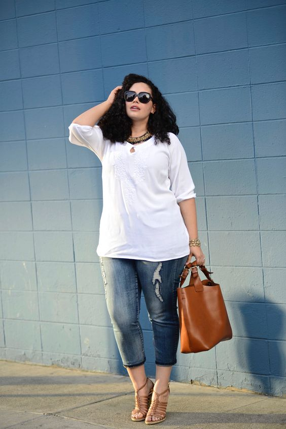 5 ways to combine plus size cropped jeans in spring 1 - 5-ways-to-combine-plus-size-cropped-jeans-in-spring-1