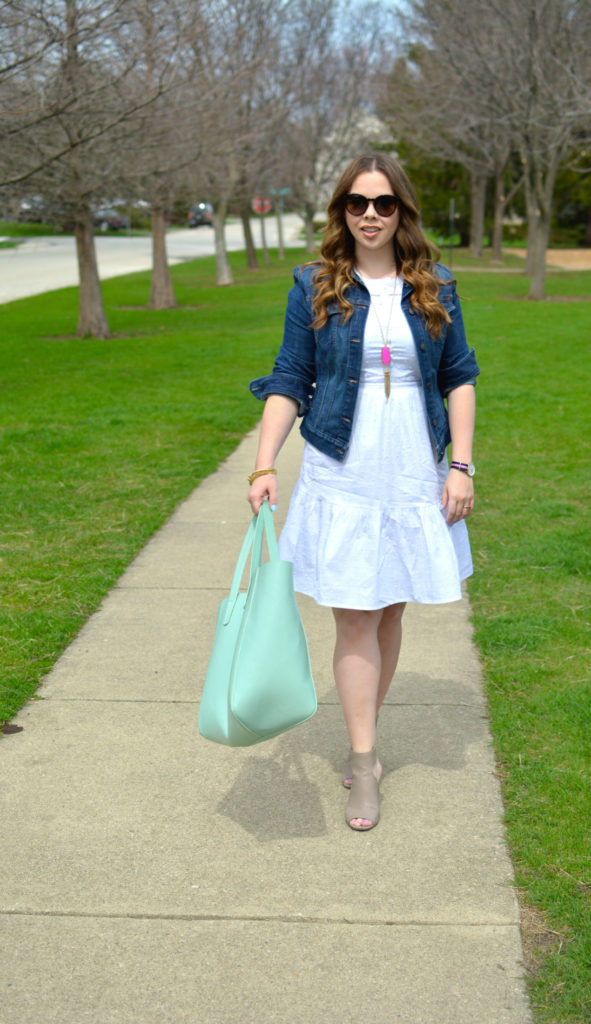 plus size summer outfit with white dress and denim jacket  - plus size summer outfit with white dress and denim jacket