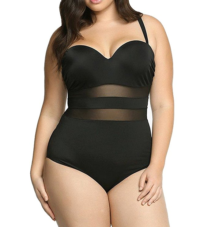 7 feminine black plus size swim suits that you will love 5 - 7-feminine-black-plus-size-swim-suits-that-you-will-love-5