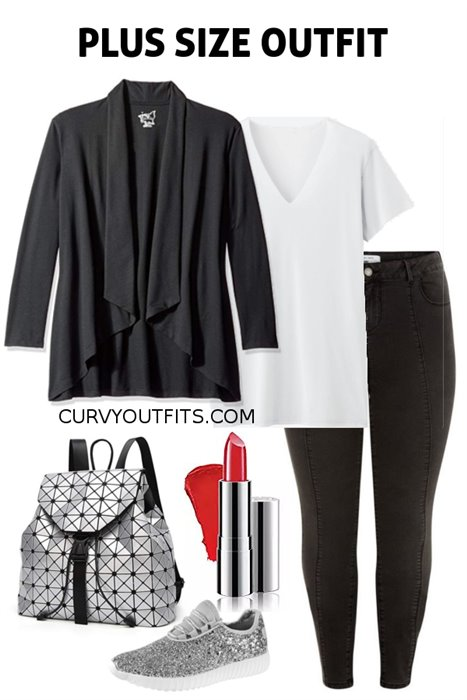 c49759de2 Plus size outfit of the day: basic casual outfit with some glam ...