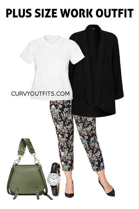 dc101001028 Plus size outfit of the day  chic work outfit with floral pants ...